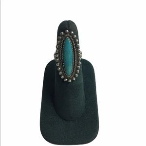 Silver Oblong Turquoise Stone Bead Ring Si…